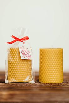 Svietidlá a sviečky - Sviečka zo 100% včelieho vosku - Točená 6x8cm - 11153269_