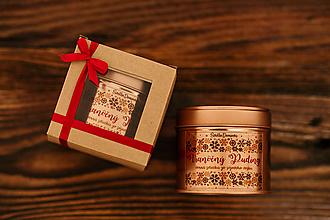 Svietidlá a sviečky - Sójová sviečka v plechovke - RoseGold - Vianočný Bozk (sviečka+darčekové balenie) - 11155855_