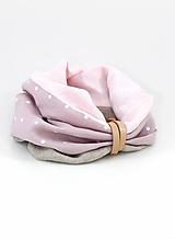 Šály - Dámsky štýlový ružový nákrčník z ľanu - 11155120_