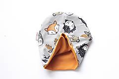"""Detské čiapky - Dvojvrstvová čiapka""""lesné zvieratká"""" (čiapka, na oh: 42-46cm, do 1roka) - 11154333_"""