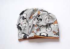 """Detské čiapky - Dvojvrstvová čiapka""""lesné zvieratká"""" (čiapka, na oh: 42-46cm, do 1roka) - 11154335_"""