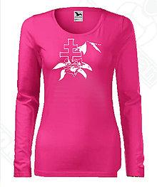 Tričká - Dámske tričko s dlhým rukávom-DAMIDIZAJN (Ružová) - 11154493_
