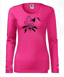 Tričká - Dámske tričko s dlhým rukávom-DAMIDIZAJN (Ružová) - 11154495_