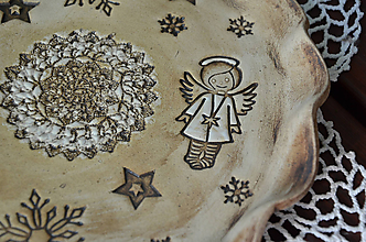 Nádoby - Vánoční talíř/svícen ANDĚLSKÝ II. - 11155991_