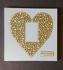 Obrázky - Svadobný obraz (štvorec + otvor pre fotku + tabuľka) - 11154498_
