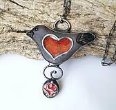 Náhrdelníky - Keramický šperk so sklom  - Vtáčik - 11154590_