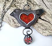 Náhrdelníky - Keramický šperk so sklom  - Vtáčik - 11154595_