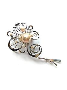 """Odznaky/Brošne - Brošňa B49PO """"Květ s mořskou perlou"""" 12ks perel - 11155640_"""