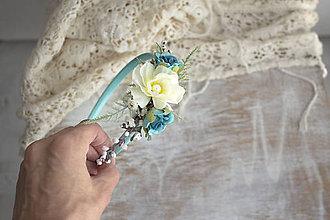 Ozdoby do vlasov - Kvetinová čelenka ,,tyrkysová,, - 11153953_
