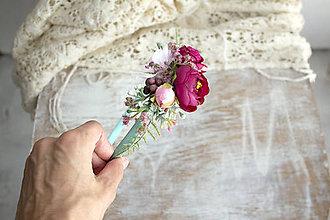 Ozdoby do vlasov - kvetinová čelenka ,,bordová,, - 11154305_