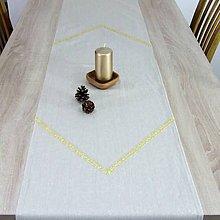 Úžitkový textil - GOLD - režná pretkávaná zlatom - vianočný behúň - 11153176_