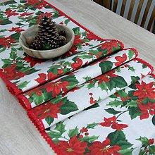 Úžitkový textil - SANDRA - tradičné ruže na režnej - vianočná štóla - 11156287_