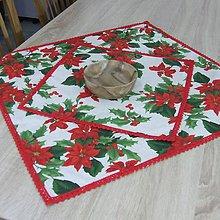 Úžitkový textil - SANDRA - tradičné ruže na režnej - vianočný štvorec - 11156302_