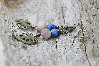 Náušnice - * Náušnice z minerálov lapis lazuli a mesačný kameň * - 11153855_
