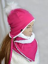 Detské súpravy - Zimný set  cyklamén & fleece snow - 11154171_