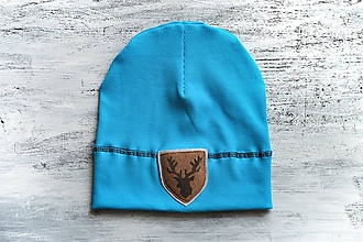 Detské čiapky - Flexi čiapka s aplikáciou-tyrkisová - 11156354_