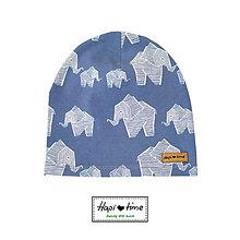 Detské čiapky - Bio čiapka so sloníkom - 11154257_