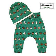 Detské oblečenie - Bio detské nohavice s lesnými zvieratkami - 11155066_