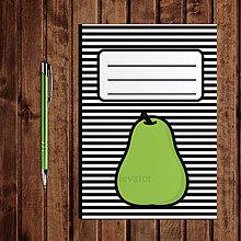 Papiernictvo - Zápisník ovocie - pruhovaný  (hruška) - 11154193_
