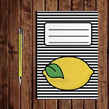 Papiernictvo - Zápisník ovocie - pruhovaný  (citrón) - 11154197_
