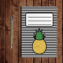 Papiernictvo - Zápisník ovocie - pruhovaný  (ananás) - 11154239_