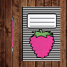 Papiernictvo - Zápisník ovocie - pruhovaný  (malina) - 11154241_