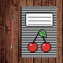 Papiernictvo - Zápisník ovocie - pruhovaný  (čerešňa) - 11154243_