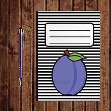 Papiernictvo - Zápisník ovocie - pruhovaný  (slivka) - 11154249_