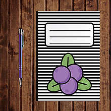 Papiernictvo - Zápisník ovocie - pruhovaný  (čučoriedky) - 11154250_