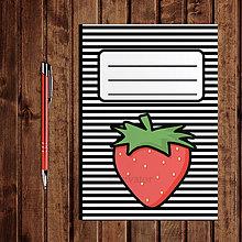 Papiernictvo - Zápisník ovocie - pruhovaný  (jahoda) - 11154251_