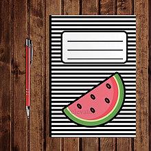 Papiernictvo - Zápisník ovocie - pruhovaný  (melón) - 11154253_