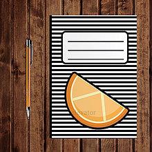 Papiernictvo - Zápisník ovocie - pruhovaný  (pomaranč) - 11154254_
