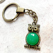 Kľúčenky - Green Jade Owl Keychain / Kľúčenka so zeleným jadeitom - sova - 11158064_