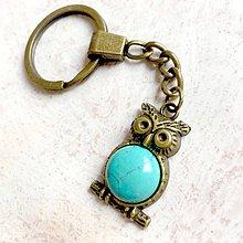 Kľúčenky - Tyrkenite Owl Keychain / Kľúčenka s tyrkenitom - sova - 11158146_