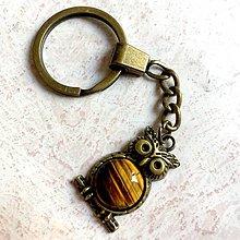 Kľúčenky - Tiger Eye Owl Keychain / Kľúčenka s tigrím okom - sova - 11158272_