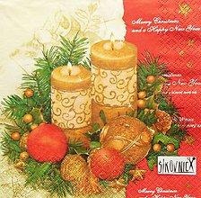 Papier - S1447 - Servítky - Vianoce, sviečka, orech, ihličie - 11157572_
