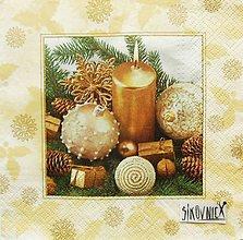 Papier - S1449 - Servítky - Vianoce, sviečka, šiška - 11157577_