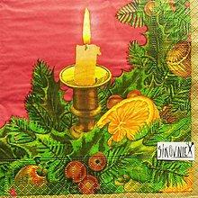 Papier - S1444 - Servítky - Vianoce, sviečka, pomaranč - 11157584_