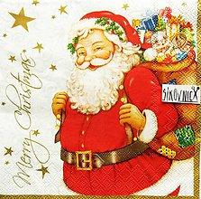 Papier - S1451 - Servítky - Vianoce, Santa claus, darčeky - 11157597_