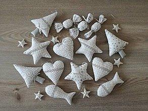 Dekorácie - Vianočné ozdoby strieborné-sada - 11157947_