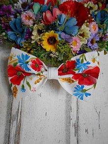 """Doplnky - FLORAL FOLK """" Maky, nevädza a obilné klásky """" svadobný exkluzívny motýlik a vreckovka (pánsky motýlik) - 11156781_"""