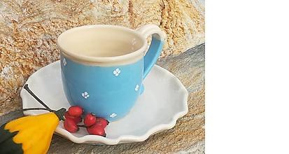 Nádoby - Keramická šálka na čaj + tanierik na dobroty - baby blue - 11157322_