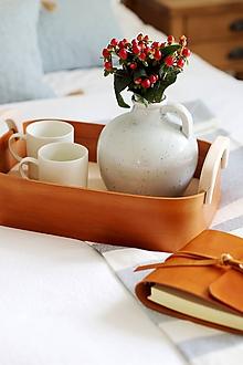 Košíky - Luxusný kožený podnos/košík - 11157953_