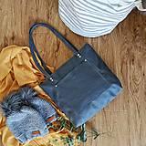 Kabelky - Nina so zipsom (kožená taška tmavo-šedo-modrá) - 11157831_