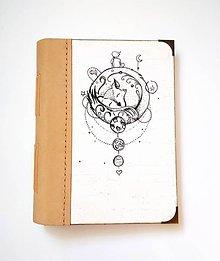 """Papiernictvo - Diár Ručne šitý KRESLENÝ  zápisník * sketchbook ,,B 612"""" A5 s koženým chrbtom - 11157254_"""