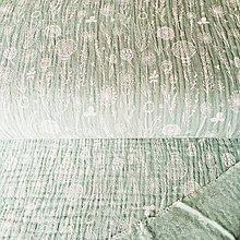 Textil - dvojitý bavlnený mušelín Lúčne kvety, šírka 130 cm (Tyrkysová) - 11157955_