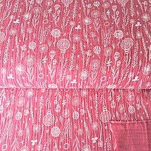 Textil - dvojitý bavlnený mušelín Lúčne kvety, šírka 130 cm (Ružová) - 11157987_