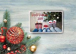 Magnetky - Hranatá vianočná magnetka s fotkou - 11158183_