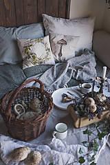 Úžitkový textil - Darčekové balenie vankúšov - huby - 11158712_