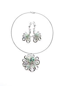 """Sady šperkov - Sada šperkov """"Z vodní hladiny"""" květinová s fluoritem - 11160514_"""